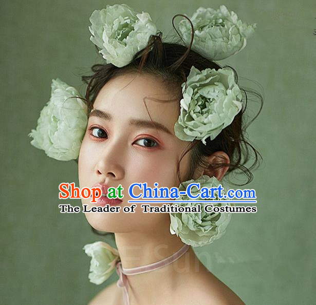 Top Grade Handmade Wedding Bride Hair Accessories Green Flowers Hair Stick, Traditional Princess Baroque Hair Claws Headpiece for Women