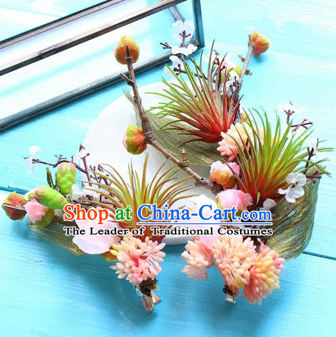 Top Grade Handmade Wedding Bride Hair Accessories Pink Flowers Hair Stick, Traditional Princess Baroque Hair Claws Headpiece for Women