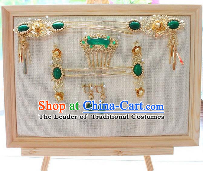 Top Grade Chinese Handmade Wedding Green Jade Hair Accessories Complete Set, Traditional China Xiuhe Suit Bride Phoenix Coronet Tassel Hairpins Headwear for Women