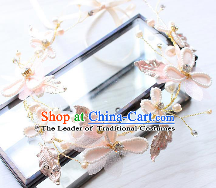 Top Grade Handmade Wedding Bride Hair Accessories Silk Flowers Hair Clips, Traditional Princess Baroque Beads Hair Clasp Headpiece for Women