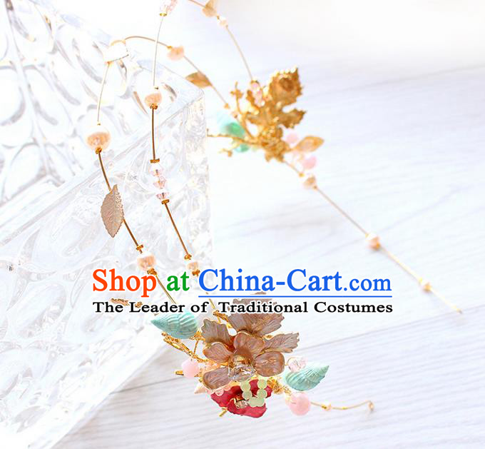 Top Grade Handmade Wedding Bride Hair Accessories Golden Hair Clips, Traditional Princess Baroque Conch Hair Clasp Headpiece for Women