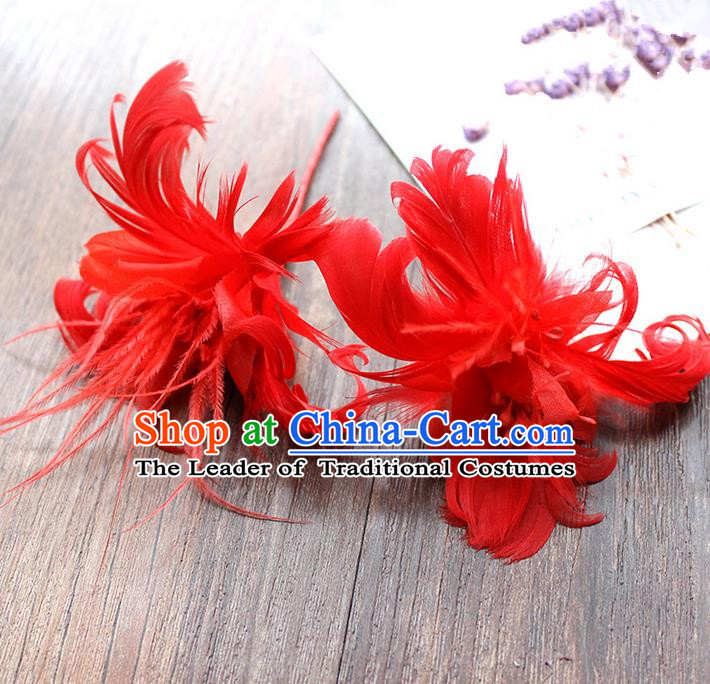 Top Grade Handmade Wedding Bride Hair Accessories Red Feather Hairpins, Traditional Princess Baroque Hair Stick Headpiece for Women