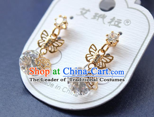 Top Grade Handmade China Wedding Bride Accessories Butterfly Earrings, Traditional Princess Wedding Crystal Earbob Jewelry for Women
