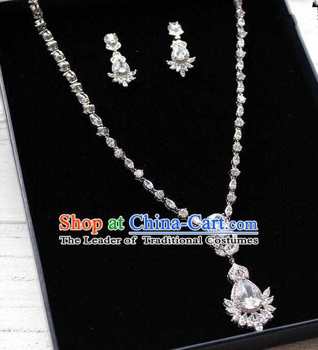 Top Grade Handmade China Wedding Bride Accessories Zircon Necklace and Earrings, Traditional Princess Wedding Crystal Necklace Earbob Jewelry for Women