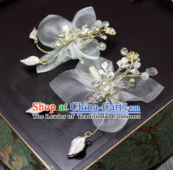 Top Grade Handmade Wedding Bride Hair Accessories White Flower Hair Stick, Traditional Princess Baroque Hair Claw Headpiece for Women