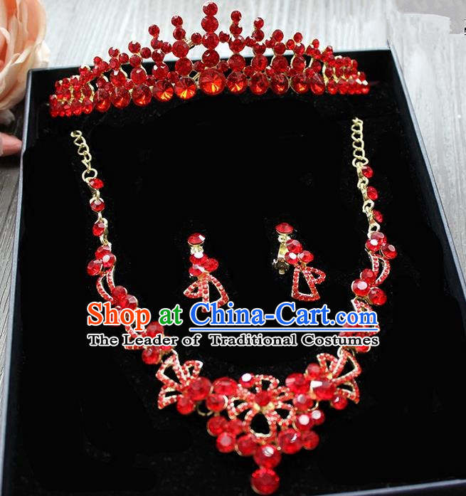 Top Grade Handmade Wedding Hair Accessories Bride Zircon Crown and Earring Necklace Complete Set, Traditional Baroque Princess Red Crystal Royal Crown Wedding Headwear for Women