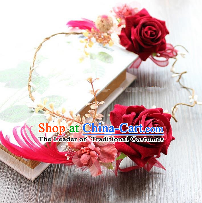 Top Grade Handmade Wedding Bride Hair Accessories Red Rose Flower Hair Clasp, Traditional Princess Baroque Hair Clip Headpiece for Women