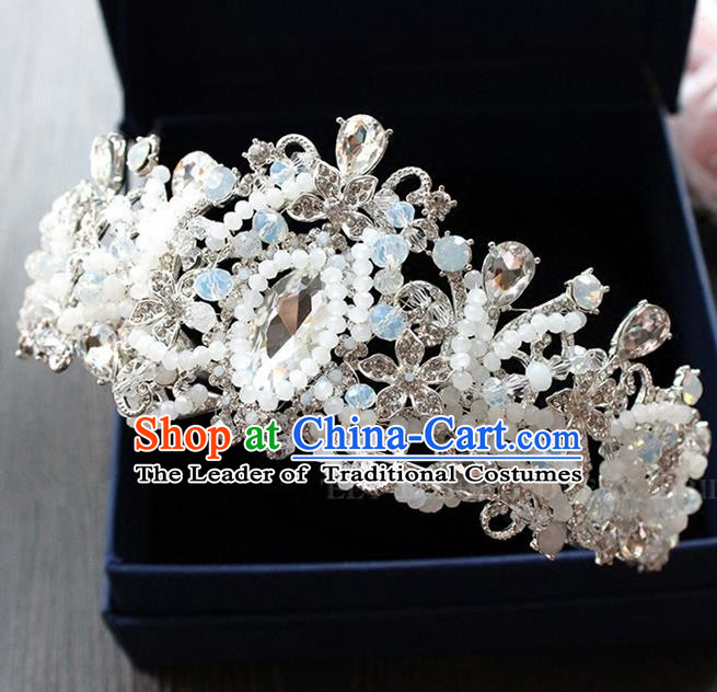 Top Grade Handmade Wedding Hair Accessories Bride Beads Opal Crown, Traditional Baroque Princess Crystal Royal Crown Wedding Headwear for Women