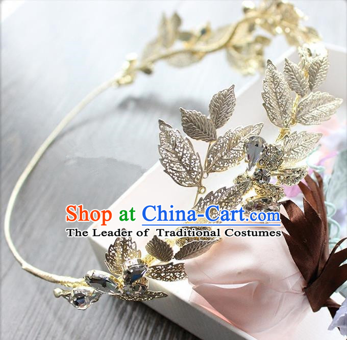 Top Grade Handmade Wedding Bride Hair Accessories Olive Branch Hair Clasp, Traditional Princess Baroque Headband Headpiece for Women