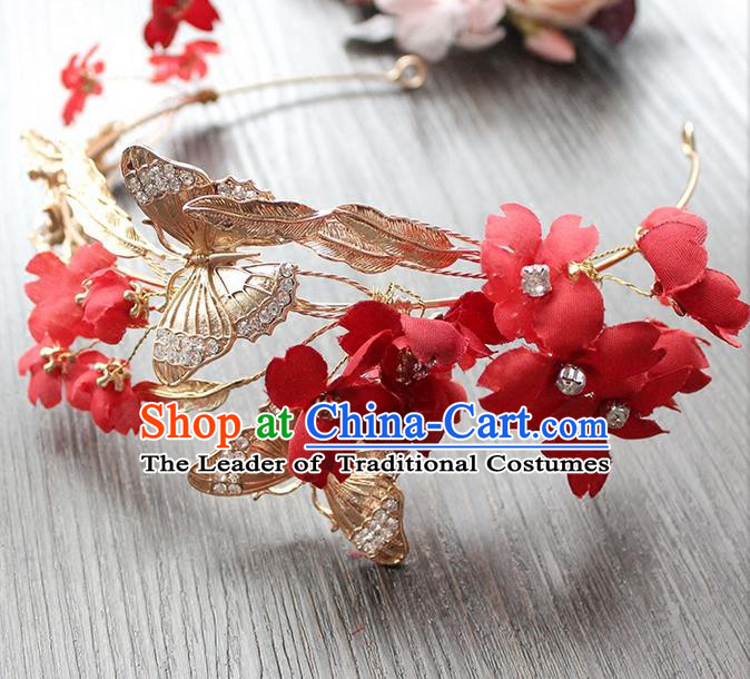 Top Grade Handmade Wedding Hair Accessories Bride Vintage Butterfly Hair Clasp, Traditional Baroque Princess Crystal Royal Crown Wedding Headwear for Women