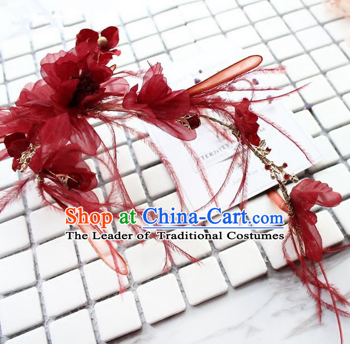 Top Grade Handmade Wedding Bride Hair Accessories Red Silk Flower Hair Stick, Traditional Princess Baroque Hair Clasp Headband Headpiece for Women