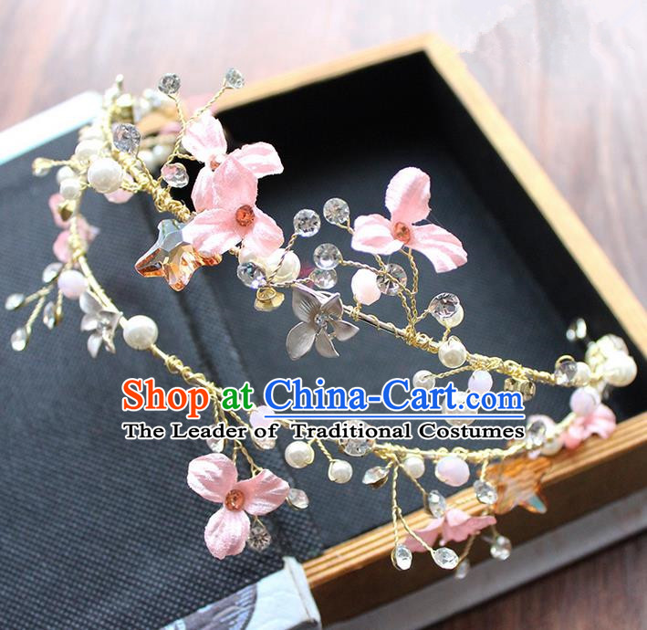 Top Grade Handmade Wedding Bride Hair Accessories Pink Flowers Pearl Hair Clasp, Traditional Princess Baroque Crystal Headband Headpiece for Women