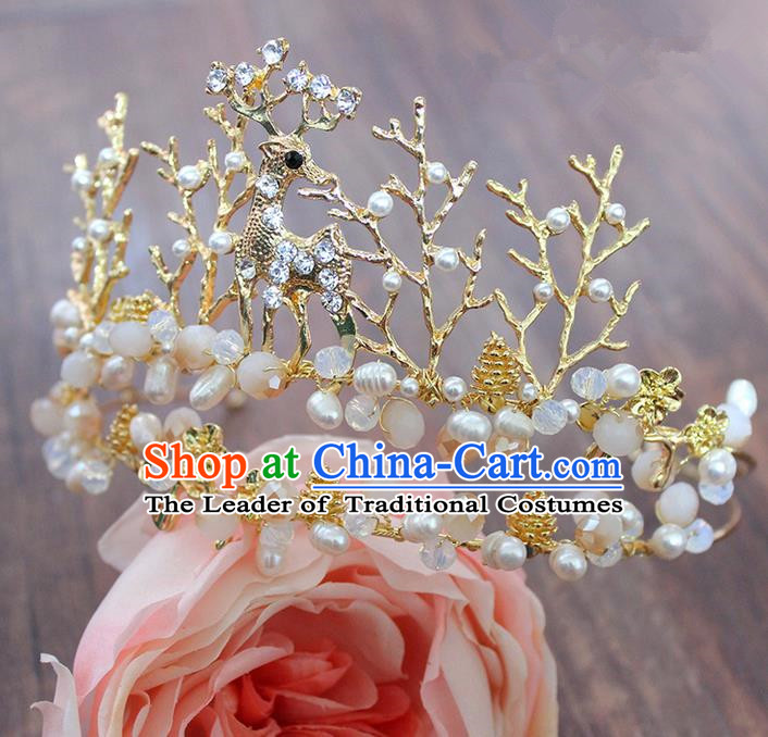 Top Grade Handmade Wedding Hair Accessories Bride Vintage Deer Crown, Traditional Baroque Pearl Royal Crown Wedding Headwear for Women