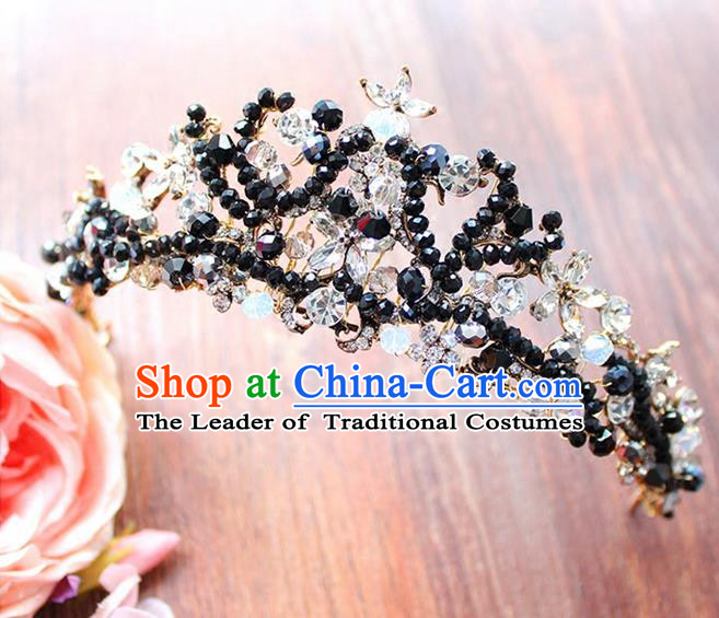 Top Grade Handmade Wedding Hair Accessories Bride Vintage Black Beads Crown, Traditional Baroque Crystal Royal Crown Wedding Headwear for Women