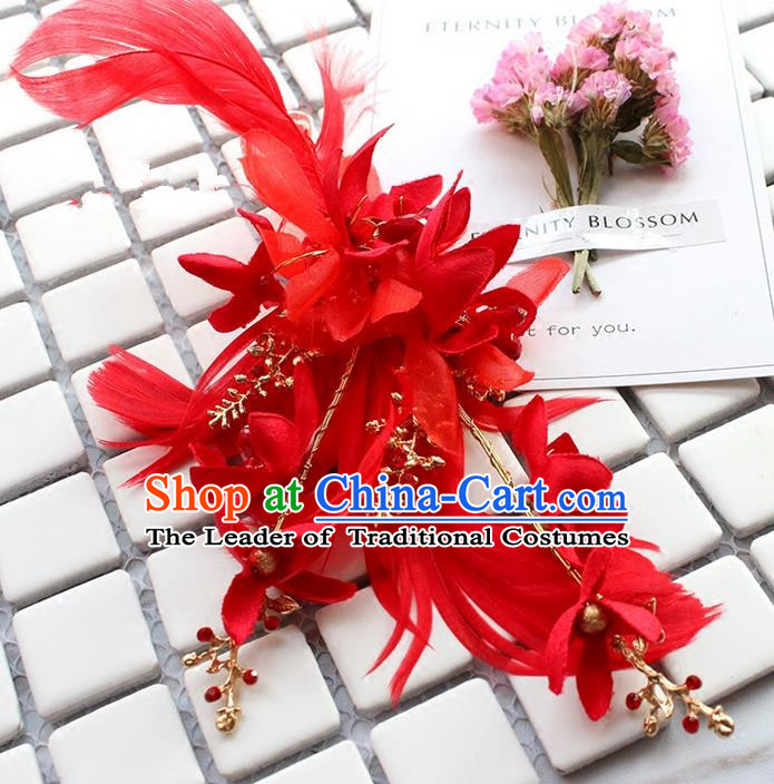 Top Grade Handmade Wedding Bride Hair Accessories Red Feather Hair Stick, Traditional Princess Baroque Hair Claws Headpiece for Women