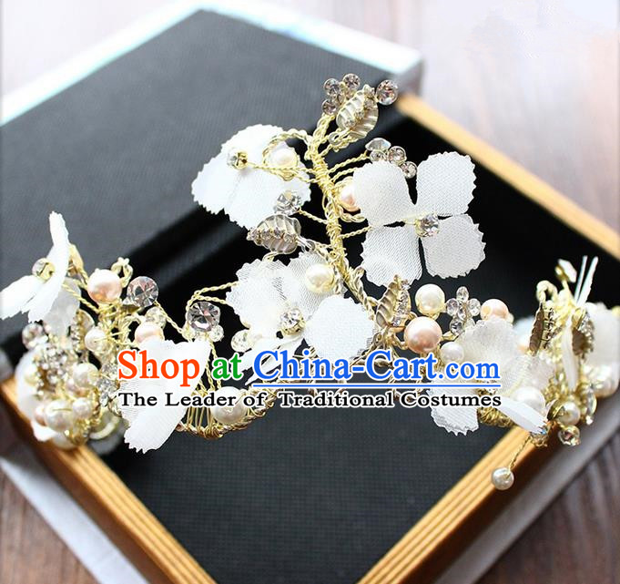 Top Grade Handmade Wedding Bride Hair Accessories White Flowers Hair Clip Crown, Traditional Princess Baroque Hair Clasp Headpiece for Women