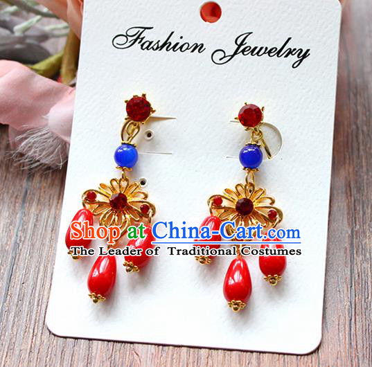 Top Grade Handmade China Wedding Bride Accessories Red Bead Earrings, Traditional Princess Wedding Xiuhe Suit Tassel Eardrop Jewelry for Women