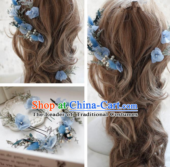 Top Grade Handmade Wedding Bride Hair Accessories Blue Flowers Hair Clasp, Traditional Princess Baroque Garland Headband Headpiece for Women