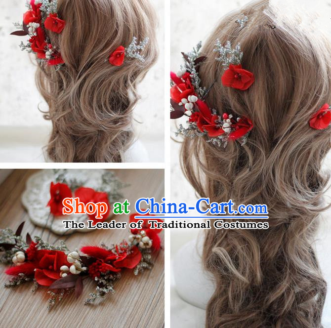 Top Grade Handmade Wedding Bride Hair Accessories Red Flowers Hair Clasp, Traditional Princess Baroque Garland Headband Headpiece for Women