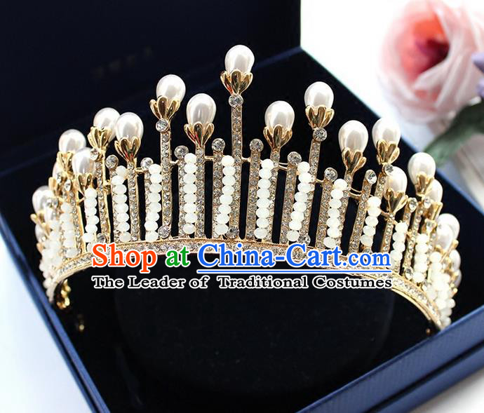 Top Grade Handmade Wedding Hair Accessories Bride Vintage Crystal Beads Crown, Traditional Baroque Pearl Royal Crown Wedding Headwear for Women