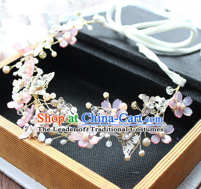 Top Grade Handmade Wedding Bride Hair Accessories Pink Crystal Flowers Hair Clasp, Traditional Princess Baroque Bowknot Headband Headpiece for Women