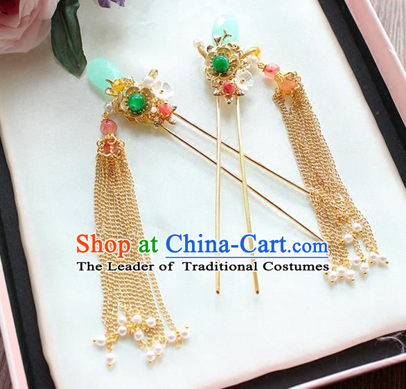 Top Grade Chinese Handmade Wedding Jade Hair Accessories Tassel Step Shake, Traditional China Xiuhe Suit Bride Hairpins Headdress for Women