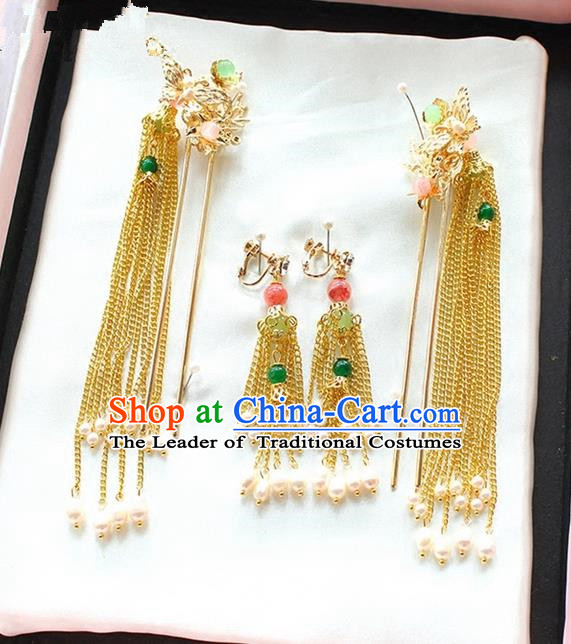 Top Grade Chinese Handmade Wedding Jade Hair Accessories Step Shake, Traditional China Xiuhe Suit Bride Tassel Hairpins Headdress for Women