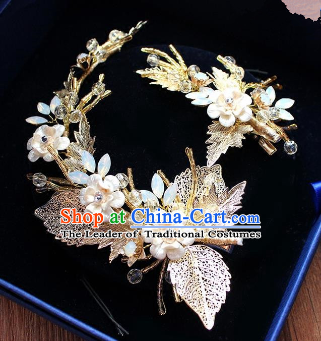 Top Grade Handmade Wedding Bride Hair Accessories Pearl Flowers Hair Stick, Traditional Princess Baroque Hair Clasp Headpiece for Women