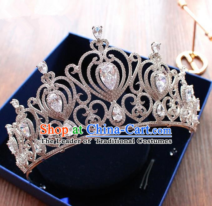Top Grade Handmade Wedding Hair Accessories Bride Vintage Diamante Crown, Traditional Baroque Queen Zircon Royal Crown Wedding Headwear for Women