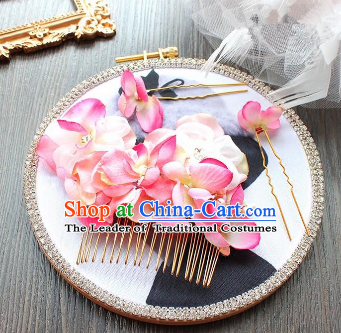 Top Grade Handmade Wedding Bride Hair Accessories Pink Hair Claw, Traditional Princess Baroque Hair Comb Headpiece for Women