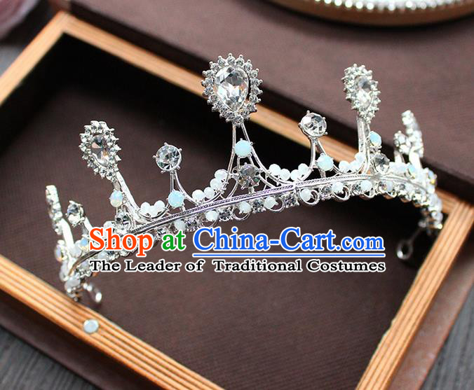 Top Grade Handmade Wedding Hair Accessories Bride Vintage Beads Crown, Traditional Baroque Queen Crystal Royal Crown Wedding Headwear for Women