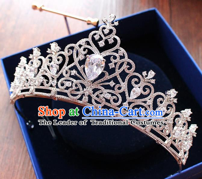 Top Grade Handmade Wedding Hair Accessories Bride Vintage Diamante Crown, Traditional Baroque Zircon Royal Crown Wedding Headwear for Women