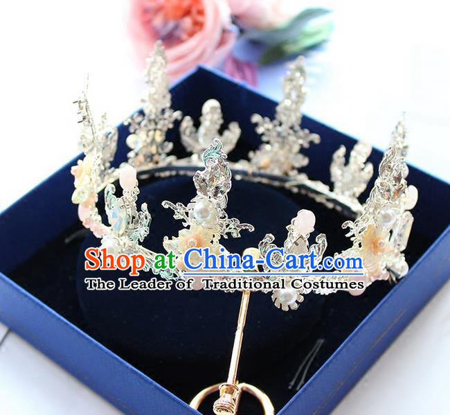 Top Grade Handmade Wedding Hair Accessories Bride Vintage Round Crown, Traditional Baroque Queen Crystal Royal Crown Wedding Headwear for Women