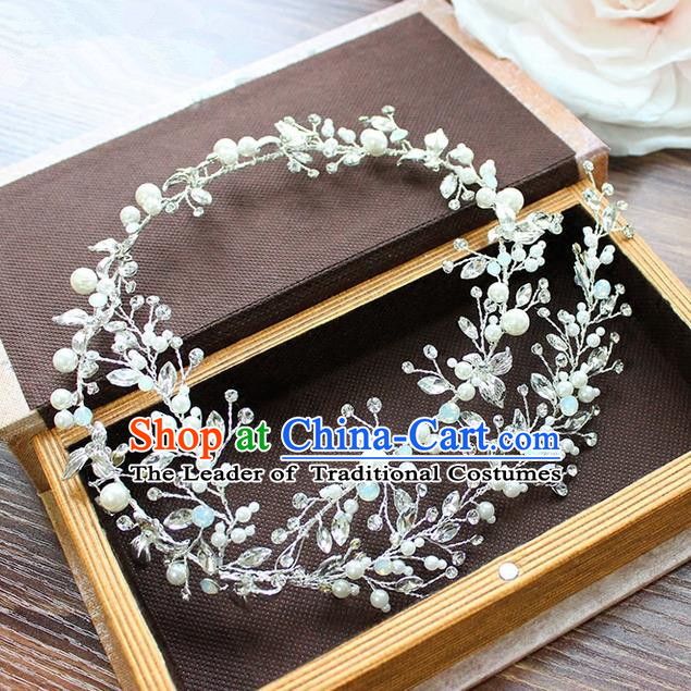 Top Grade Handmade Wedding Bride Hair Accessories Beads Hair Clasp, Traditional Princess Baroque Crystal Headband Headpiece for Women