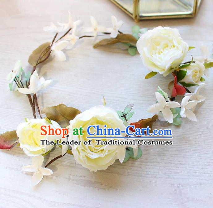 Top Grade Handmade Wedding Bride Hair Accessories White Flowers Headband Garland, Traditional Princess Baroque Hair Clasp Headpiece for Women