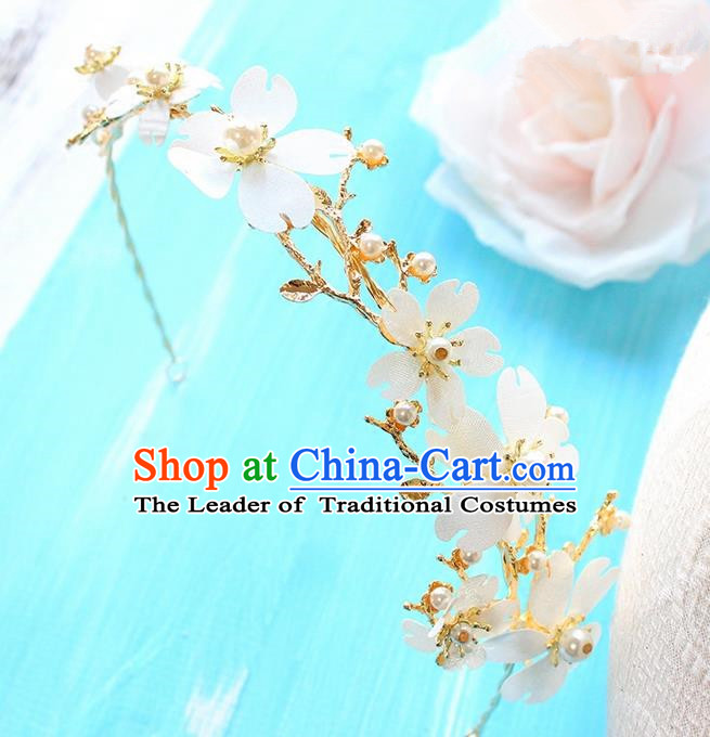 Top Grade Handmade Wedding Bride Hair Accessories Pearl Flowers Headband Hair Clasp, Traditional Princess Baroque Hair Stick Headpiece for Women