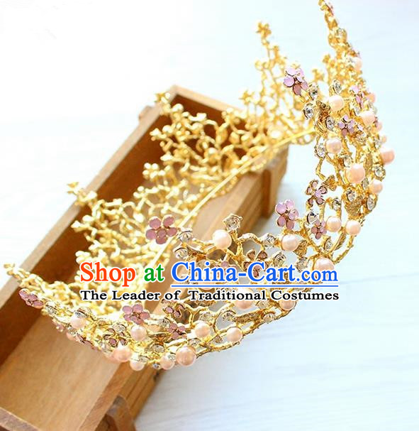 Top Grade Handmade Wedding Hair Accessories Bride Vintage Golden Round Crown, Traditional Baroque Queen Pink Opal Royal Crown Wedding Headwear for Women