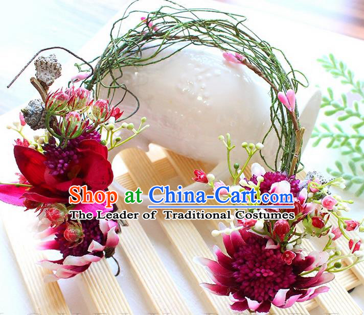 Top Grade Handmade Wedding Bride Hair Accessories Purple Flowers Headband Hair Clasp, Traditional Princess Baroque Hair Stick Headpiece for Women