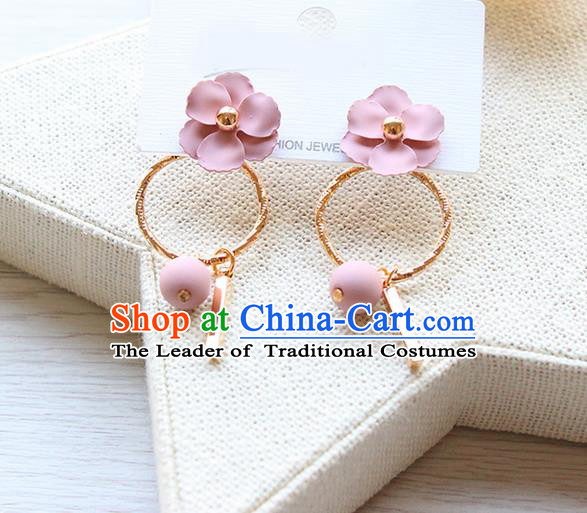 Top Grade Handmade China Wedding Bride Accessories Pearl Earrings, Traditional Princess Wedding Pink Flower Eardrop Jewelry for Women