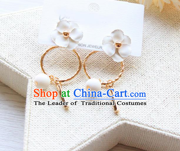 Top Grade Handmade China Wedding Bride Accessories Pearl Earrings, Traditional Princess Wedding White Flower Eardrop Jewelry for Women
