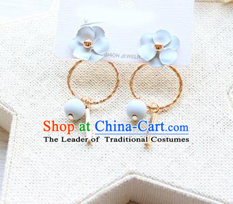 Top Grade Handmade China Wedding Bride Accessories Pearl Earrings, Traditional Princess Wedding Blue Bowknot Eardrop Jewelry for Women