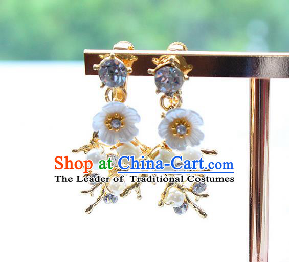 Top Grade Handmade China Wedding Bride Accessories Blue Shell Pearl Earrings, Traditional Princess Wedding Eardrop Jewelry for Women