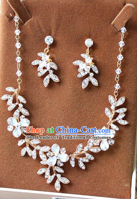 Top Grade Handmade China Wedding Bride Accessories Necklace and Earrings, Traditional Princess Crystal Wedding Eardrop Jewelry for Women