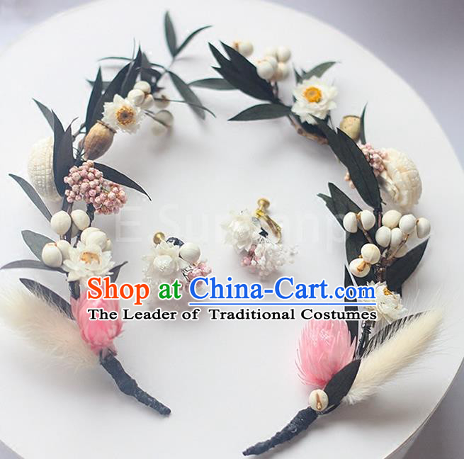 Top Grade Handmade Wedding Bride Hair Accessories Flowers Hairpin Hair Claw, Traditional Princess Baroque Hair Stick Headpiece for Women
