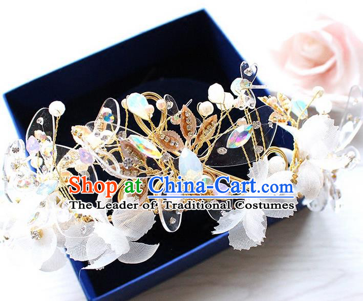 Top Grade Handmade Wedding Hair Accessories Bride Vintage Butterfly Crown, Traditional Baroque Queen Crystal Royal Crown Wedding Headwear for Women
