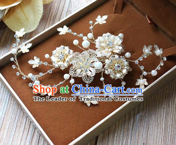 Top Grade Handmade Wedding Bride Hair Accessories Crystal Hairpin Hair Claw, Traditional Princess Baroque Pearl Hair Stick Headpiece for Women