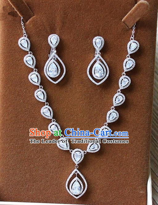 Top Grade Handmade China Wedding Bride Accessories Zircon Necklace and Earrings, Traditional Princess Crystal Wedding Eardrop Jewelry for Women