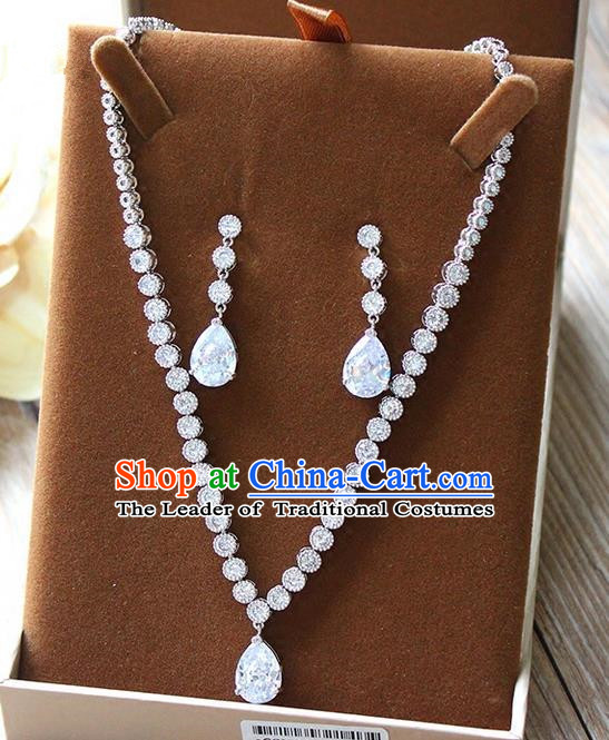 Top Grade Handmade China Wedding Bride Accessories Zircon Necklace and Earrings, Traditional Princess Round Crystal Wedding Eardrop Jewelry for Women
