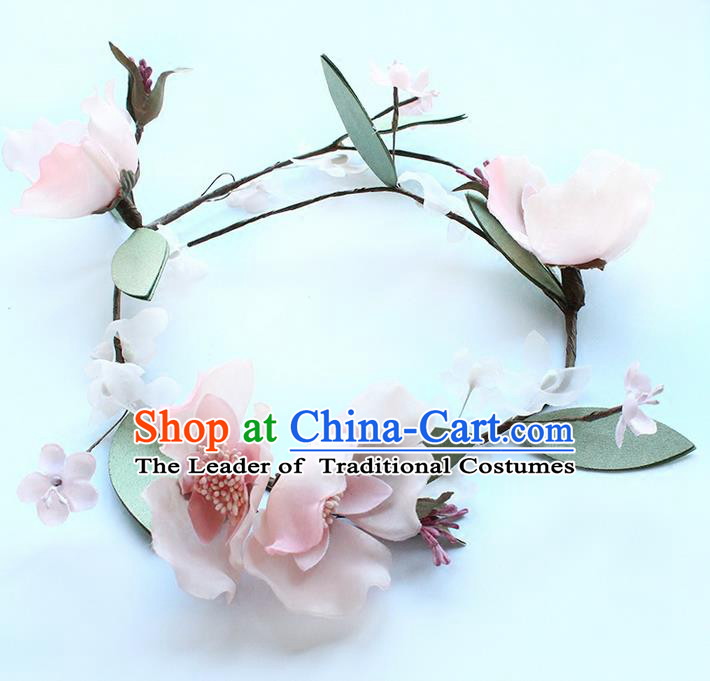 Top Grade Handmade Wedding Bride Hair Accessories Pink Flowers Headband Carland, Traditional Princess Baroque Hair Clasp Headpiece for Women