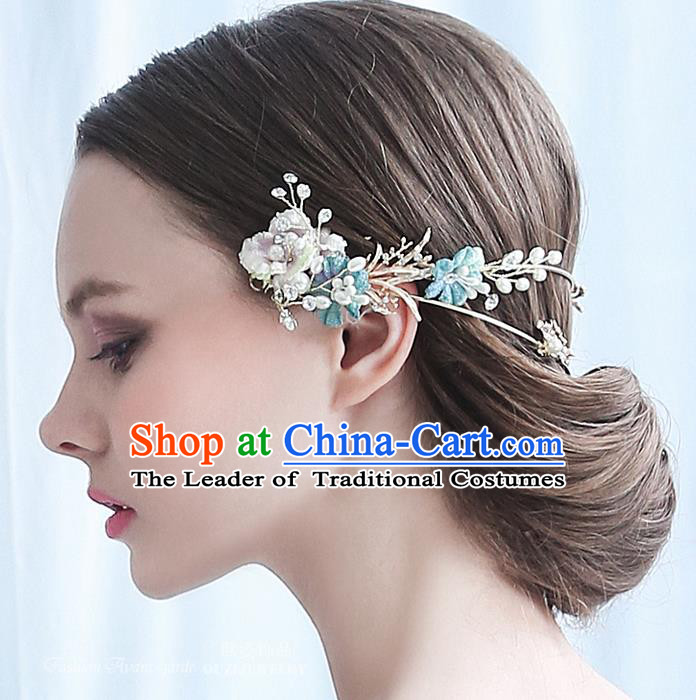 Top Grade Handmade Wedding Bride Hair Accessories Blue Hair Clasp, Traditional Baroque Princess Hair Clip Headpiece for Women